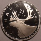 Cameo Proof Canada 1981 25 Cents~We Have Canadian Proof Coins~Free Shipping