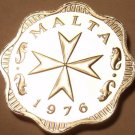 Rare Cameo Proof Malta 1976 2 Mils~Maltese Cross~Only 26,000 Minted~Free Ship
