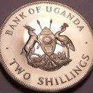 Rare Proof Uganda 1966 2 Shillings~8,250 Minted~East African Crowned Crane~F/S