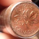 Gem Unc Roll Sealed In 1957 Canada Red Maple Leaf Cents~Free Shipping