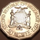 Large Rare Proof Zambia 1978 50 Ngwee~24,000 Minted~Second Republic~Free Ship