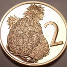 Rare Cameo Proof Cook Islands 1974 2 Cents~Pineapple~Only 7,300 Minted~Free Ship