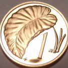 Rare Cameo Proof Cook Islands 1974 Cent~Taro Leaf~Only 7,300 Minted~Free Ship