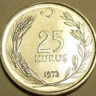 Gem Unc Turkey 1973 25 Kurus~Stainless Steel~Excellent~Free Shipping*