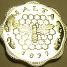 Rare Cameo Proof Malta 1977 3 Mils~Bee and Honeycomb~Only 6,884 Minted~Free Ship