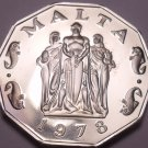 Rare Massive Cameo Proof Malta 1978 50 Cents~Great Siege~3,244 Minted~Free Ship