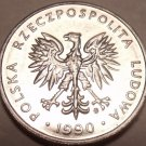 Unc Poland 1990 5 Zlotych~Eagle With Wings Spread Open~Minted In Warsaw~Free Shi