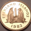 Rare Proof Falkland Islands 1982 Penny~Penguins~only 5,000 Minted~Free Ship~