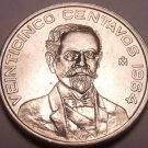 Unc Mexico 1964 25 Centavos~Minted In Mexico City~1st Year Ever~Free Shipping