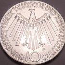 Large Gem Unc Silver Germany 1972-F 10 Mark~Munich Olympics~Stuttgart Minted~F/S