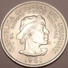 Large Gem Unc Silver Uruguay 1961 10 Pesos~Revolution Against Spain~Free Ship