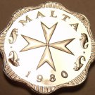 Rare Cameo Proof Malta 1980 2 Mils~Maltese Cross~3,451 Minted~Free Shipping
