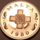 Rare Cameo Proof Malta 1980 Cent~The George Cross~3,451 Minted~Free Shipping~