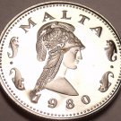 Rare Cameo Proof Malta 1980 2 Cents~Queen Of The Amazons~Only 3,451 Minted~Fr/Sh