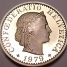 Rare Proof Switzerland Proof 1979-B 20 Rappen~Only 10,000 Minted~Free Shipping