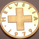 Rare Cameo Proof Switzerland 1979 Rappen~Only 10,000 Minted~Oat Sprig~Free Ship
