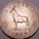 Unc Rhodesia 1964 2 1/2 Shillings~Sable Antelope~Only Year~Free Shipping