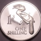 Rare Proof Zambia 1964 Shilling~Only 5,000 Minted~Crowned Hornbill~Free Shipping