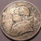 Rare Silver Vatican Papal States 1866-R 1 Lira~Fantastic~Free Shipping
