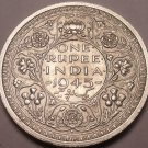 Huge Rare Gem Unc Silver India 1945 Rupee~Large Date Variety~Free Shipping