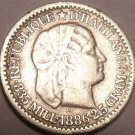 Scarce Silver Haiti 1886 10 Centimes~Awesome~Free Shipping