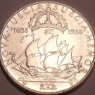 Rare Gem Unc Silver Sweden 1938-G 2 Kronor~Calmere Nyckel~300th Anniv~Free Ship