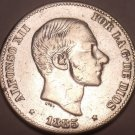 Huge Rare AU Silver Philippines 1885 50 Centimos~Incredible~Free Shipping