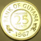 Rare Proof Guyana 1967 25 Cents~1st Year Ever~Only 5,100 Minted~Free Shipping