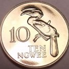 Rare Proof Zambia 1968 10 Ngwee~Crowned Hornbill~Extreme Low Mintage 4,000~Fr/Sh