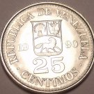 Gem Unc Venezuela 1990mm 25 Centimos~Simon Bolivar~Last Year Ever~Free Shipping