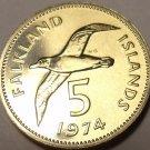 Rare Proof Falkland Islands 1974 5 Pence~Blackbrowed Albatross~23,000 Minted~F/S
