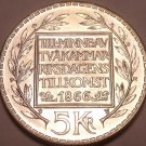 Gem Unc Silver Sweden 1966-U 5 Kronor~100th Anniv of Constitution Reform~Fr/Ship