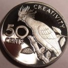 Large Cameo Proof Guyana 1976 50 Cents~Mintage 3,547~Canje Pheasant~Free Ship