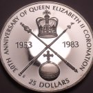 Rare Silver Proof Barbados 1983 $25~Queens Coronation~Only 2,951 Minted~Free Shi
