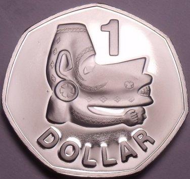Rare Cameo Proof Solomon Islands 1982 Dollar~Nusu-Nusu Head~1,368 Minted~Fr/Ship