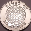 Rare Cameo Proof Solomon Islands 1982 20 Cents~Malaita pendant~1,368 Minted~F/Sh
