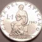 Rare Unc Vatican 1963 Lira~Only 60,000 Minteed~Temperance Seated~Free Shipping