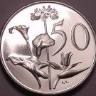 Large Rare South Africa 1969 Proof 50 Cents~12,000 Minted~Flowers~Free Shipping