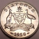 Gem Unc Silver Australia 1958 6 Pence~Minted In Melbourne~Free Shipping