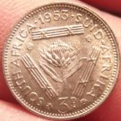 Unc Silver South Africa 1953 3 Pence~Protea Flower~Triangle Bars~Free Shipping