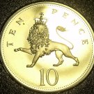 Cameo Proof Great Britain 1990 10 New Pence~Lion Coin~Only 100,000 Minted~Fr/Shi