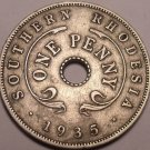 Rare Southern Rhodesia 1935 Penny~Semi Key Date Coin~Excellent~Free Shipping