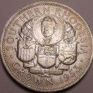 Rare Gem Unc Silver Southern Rhodesia 1953 Crown~124,000 Minted~Cecil Rhodes~F/S
