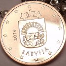 Gem Unc Latvia 2014 One Euro Cent~Latvia National Arms~Free Shipping