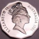 Cameo Proof Australia 1986 50 Cents~Only 67,000 Minted~Kangaroo & Emu~Free Ship