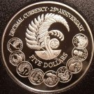 Rare Silver Proof New Zealand 1992 5 Dollars~34,000 Minted~25th Anniversary~F/Sh