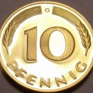 Gem Cameo Proof Germany 1975-G 10 Pfennig~Minted In Karlsruhe~43,000 Minted~Fr/S