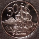 Huge Cameo Proof New Zealand 1983 50 Cents~Only 18,000 Minted~HMS Endeavour~Fr/S