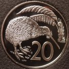 Large Rare Cameo Proof New Zealand 1983 20 Cents~18,000 Minted~Kiwi Bird~Free Sh