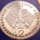 Gem Cameo Proof Germany 1975-J 2 Marks~Theodor Heuss~Only 43,000 Minted~Free Shi